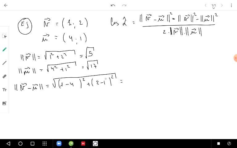 Ejemplo de ángulos entre vectores