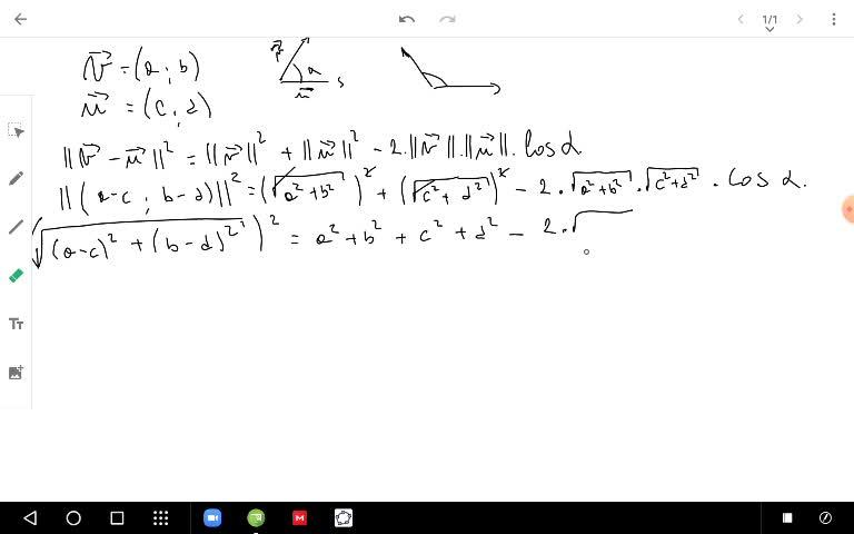 Generalización de la fórmula de ángulo entre vectores