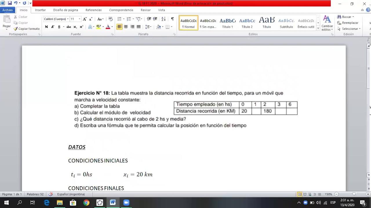 Física 1- INEL - Prácticas-Ejercicio 18 G1 cinemática