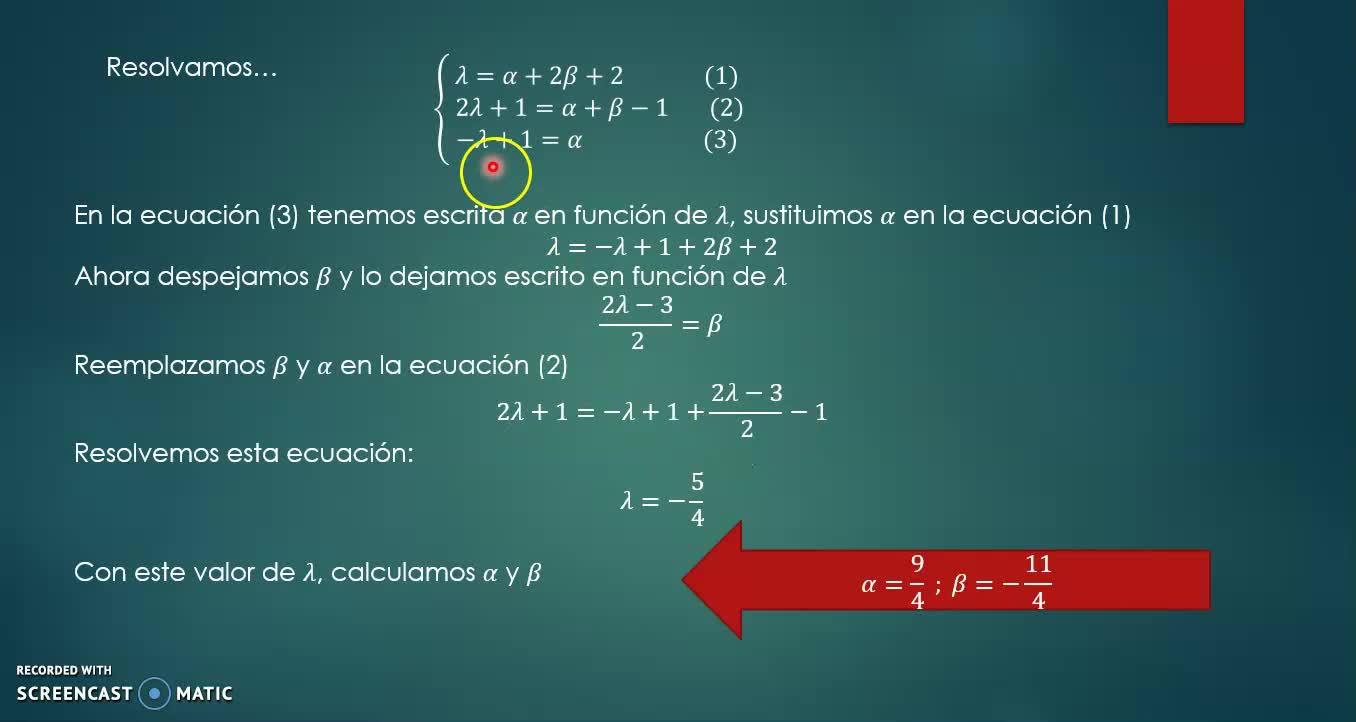Intersección recta plano ec vectorial