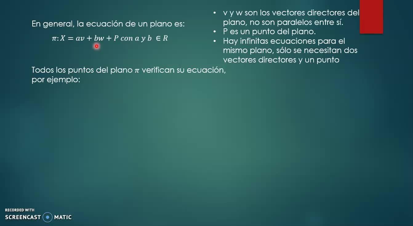 ecuacion vectorial delplano