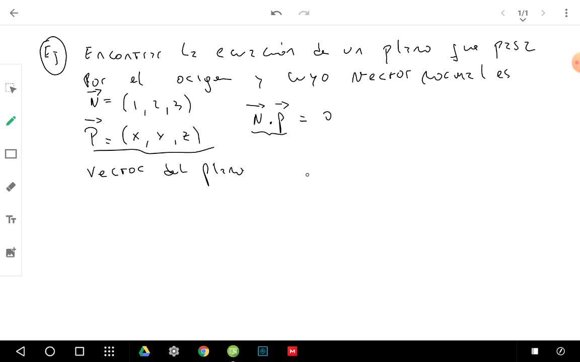 Ecuación normal de un plano
