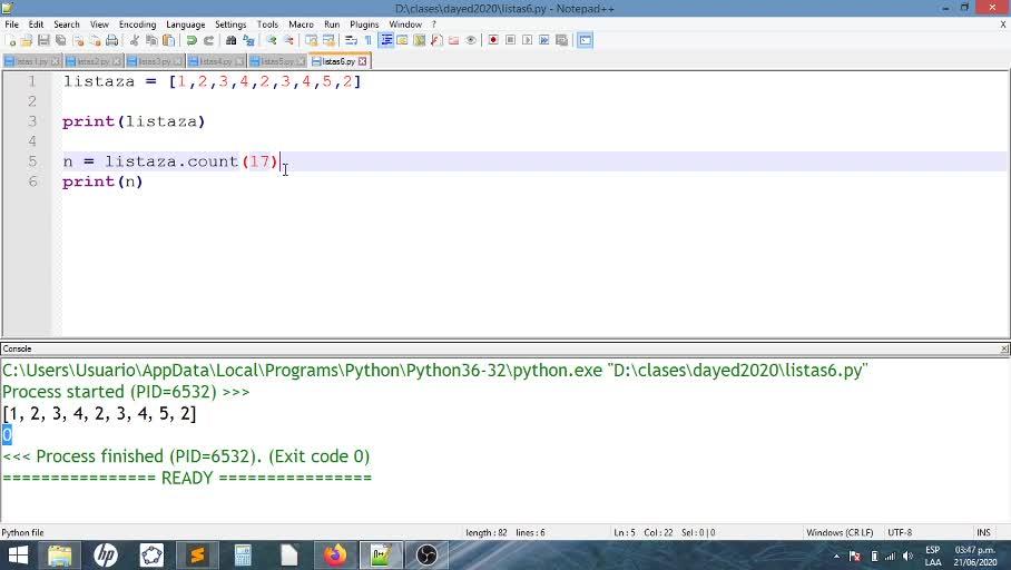 Listas en Python - in/count/index