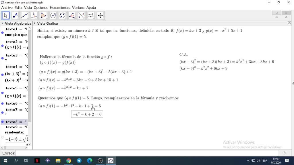 Composición de funciones con un parámetro