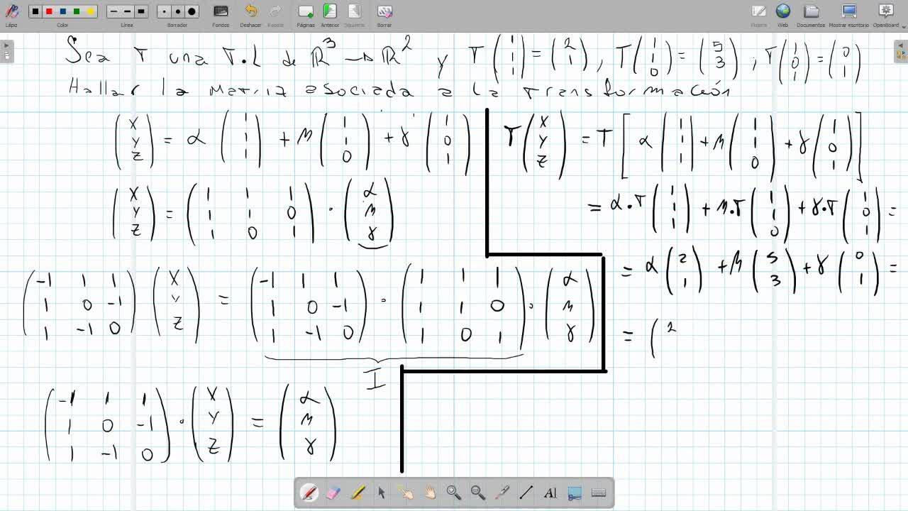 Matriz de una transformación lineal de R3 a R2