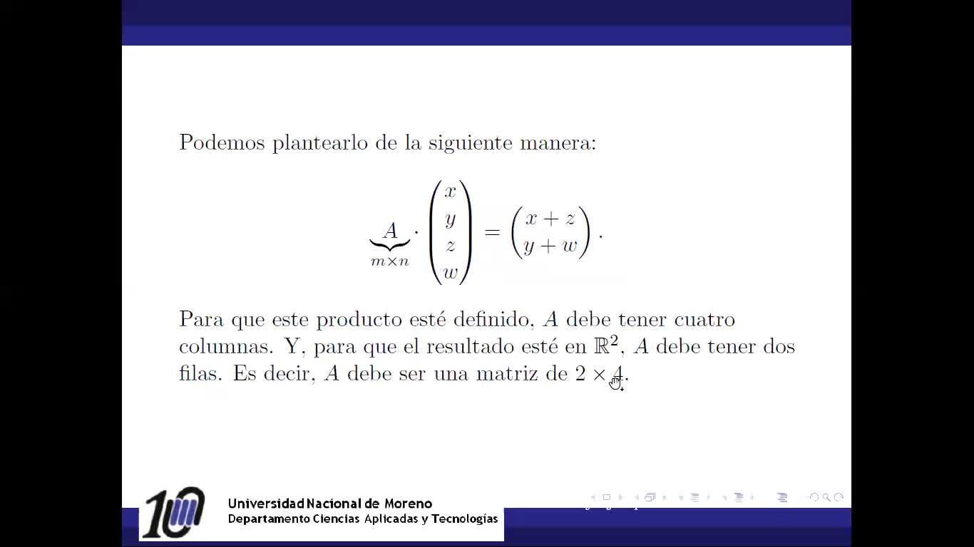 Transformaciones lineales: Representación matricial