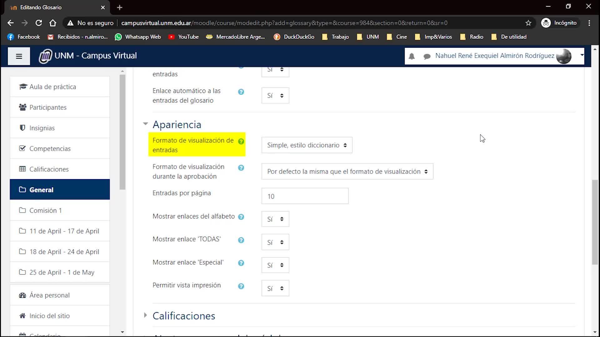 Herramienta Glosario - Tutoriales Campus Virtual UNM