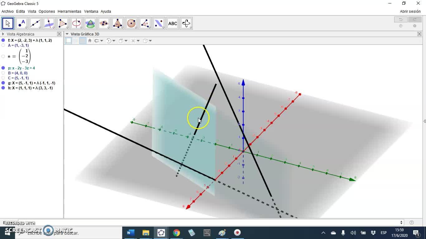 Intersección de una recta y un plano