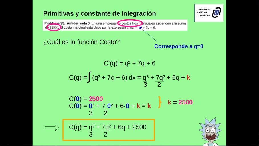 Integrales - Cálculo de la constante de integración