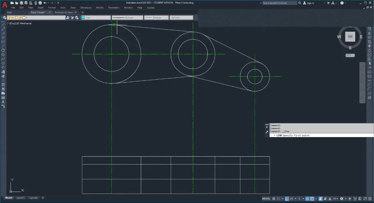 Com. 02 y 03) Final dibujo plano TP 8-5 en AutoCAD sin cotas