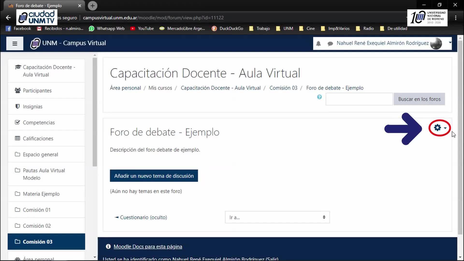 Tutoriales Campus Virtual UNM - Foro Debate
