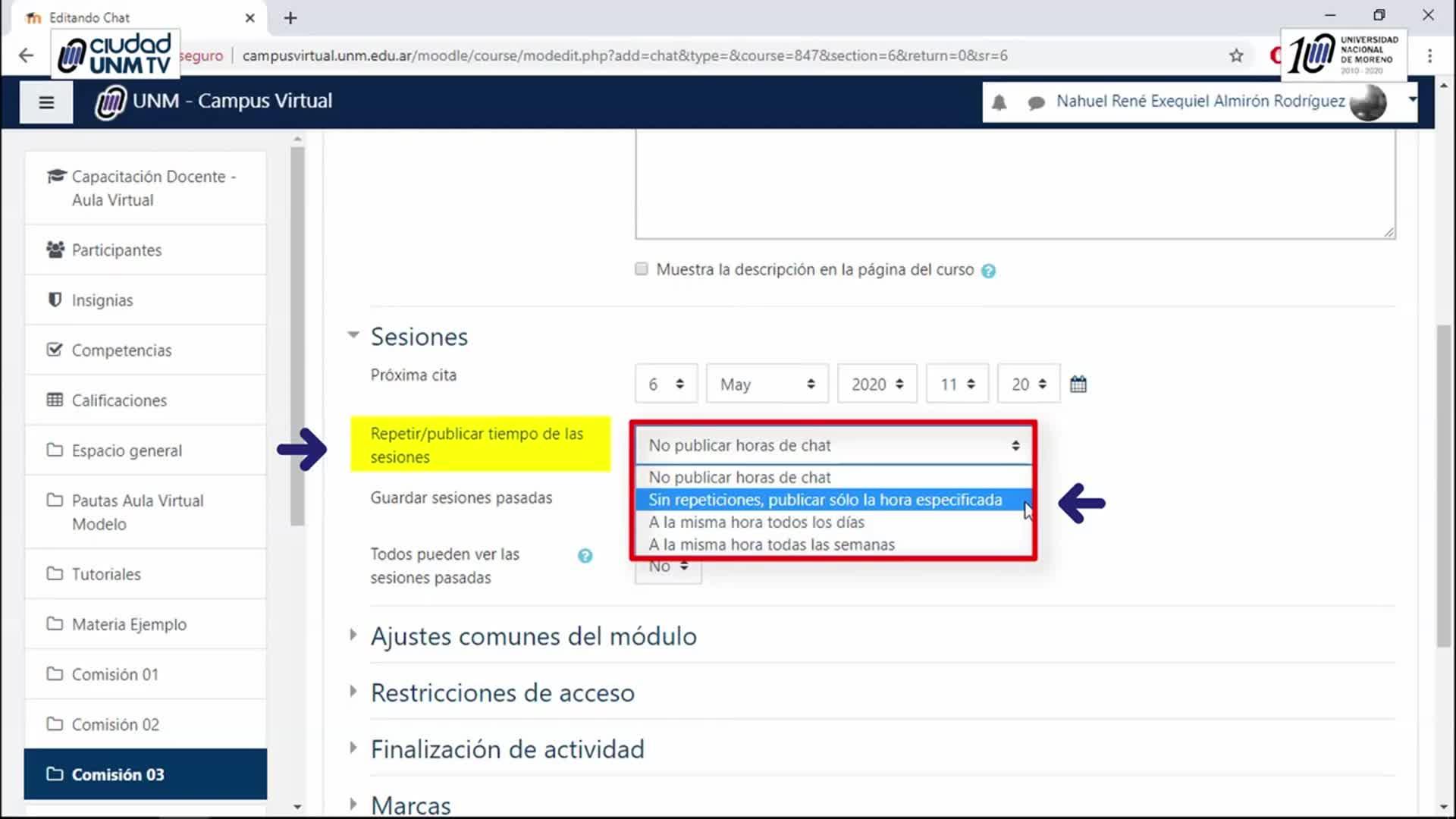 Tutoriales Campus Virtual UNM - Utilización del Recurso Chat